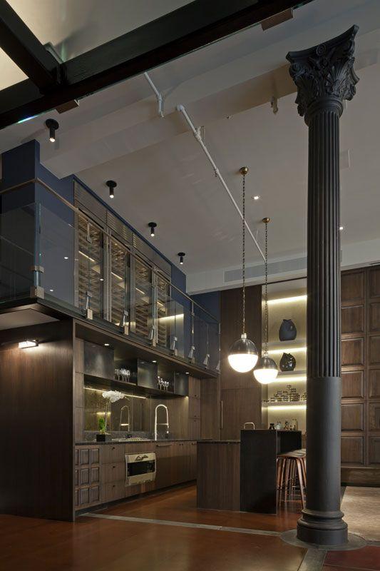 Interior design, decoration, loft, kitchen