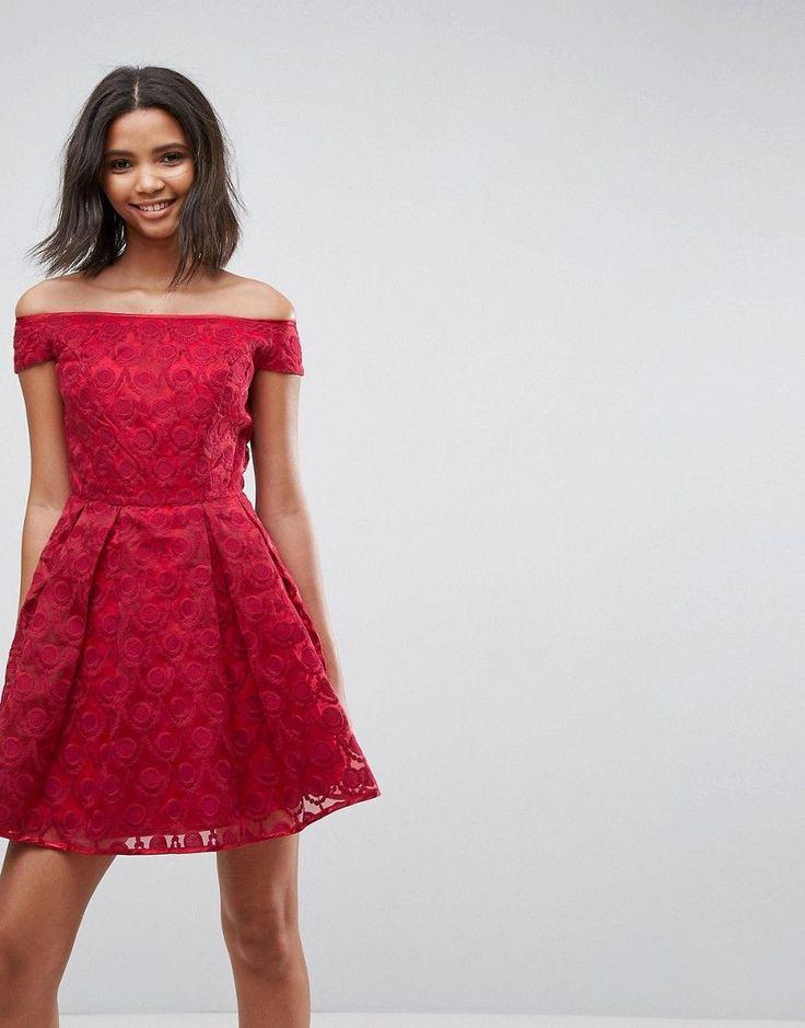 Hell Bunny Paris Lace Off Shoulder Skater Dress - Red