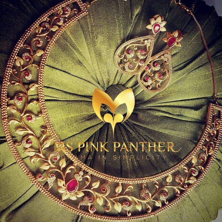 Beautiful pink choker with traditional motif