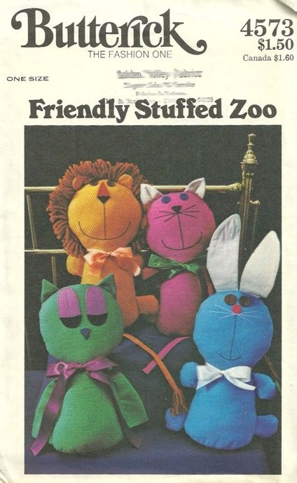Butterick 4573 1970s Stuffed Animals Pattern Lion Cat Rabbit and Owl Vintage Crafts Sewing Pattern by patterngate.com