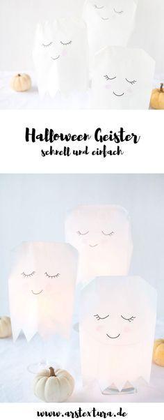 Halloween Deko: Einfache Geister aus Papiertüten basteln für deine Party – Ilka Gennermann