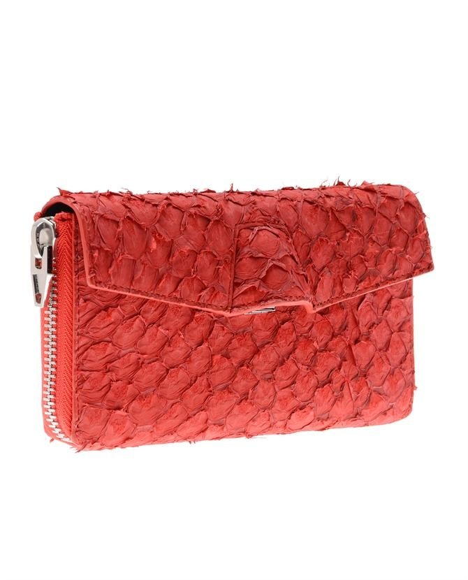 #clutch made of fish leather (perch)   Design by #AlexanderWang