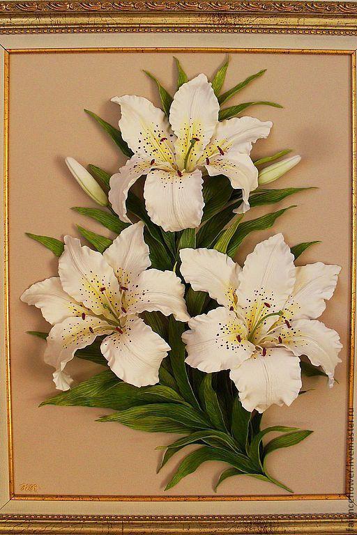 Купить Лилии из фарфора - лилии, картина с цветами, картина в подарок, картина для интерьера, Картины и панно