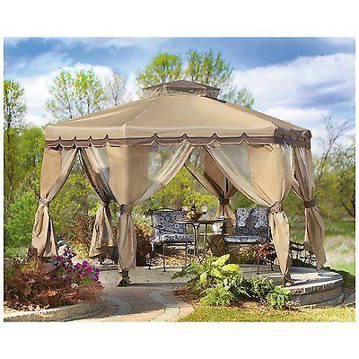 12'Paradise Gazebo Portable Palace Shade Tent Mesh Netting Walls Awning Valance