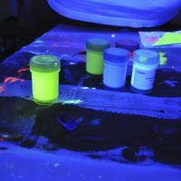Glow-in-the-dark paint livens up any craft project and also teaches kids about fluorescence and phosphorescence. Using luminous zinc sulfide powder, you can mix up all different kinds of glow-in-the-dark paint, from water-based paint to fabric paint and from clear paint to colored paint. There are no harmful chemicals, and the paint will glow again...