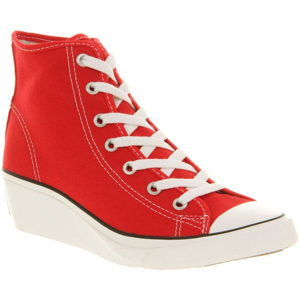 Converse All star hiness red ($80) ❤ liked on Polyvore featuring shoes, sneakers, canvas wedge shoes, platform wedge shoes, platform shoes, red wedge shoes and wedge shoes