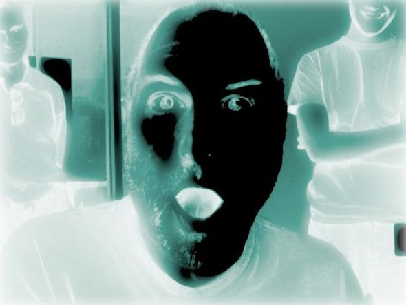 stevie goofing with Photo Booth x-ray ☺