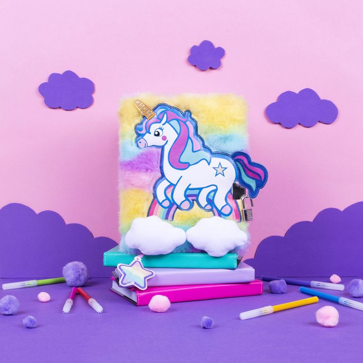 Unicorn Diary for girls. Cute, rainbow, clouds, plush diary for day to day use.