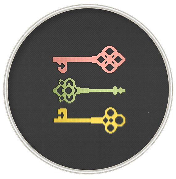 Keys cross stitch pattern, Counted cross stitch pattern, Cross stitch pattern PDF, Instant Download, Free shipping, Cross-Stitch PDF