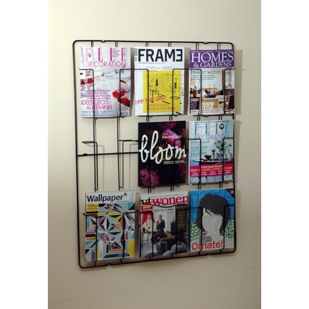 Puhlmann Wand Tijdschriftenrek met 9 vakken - Zwart - afbeelding 1