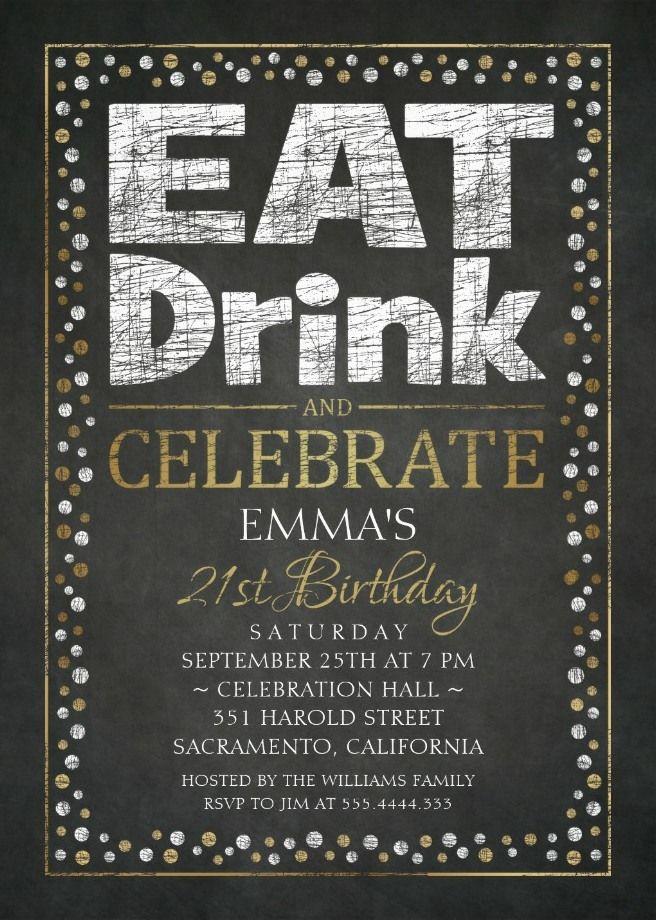 Elegant Adult 21st Birthday Party Invitations | Birthday Party ...