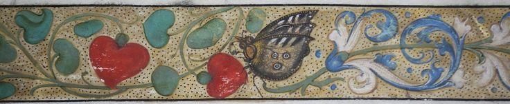 papillon ornant la bordure d'un feuillet enluminé illustrant les Miracles de St Etienne de Muret (abbaye de Grandmont, Limousin), fin XVe siècle - Musée du Pays d'Ussel (Corrèze). http://www.bn-limousin.fr/items/show/2933