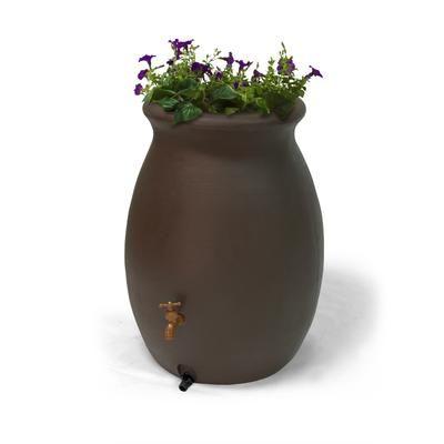 Algreen - Castilla 50 Gallon Decorative Rain Barrel with Integrated Planter - Dark Brown - 81113 - Home Depot Canada