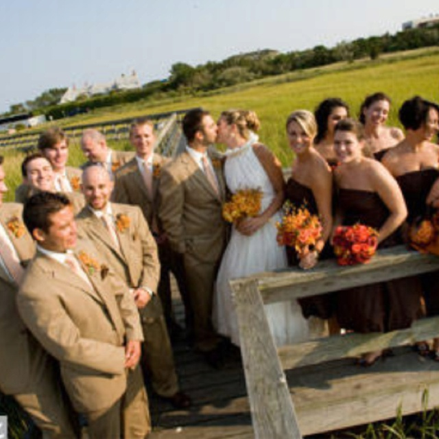 Chocolate brown bridesmaids dressed and tan groomsmen... @Lauren Davison Calgreen wasnt this exactly what you were thinking?!