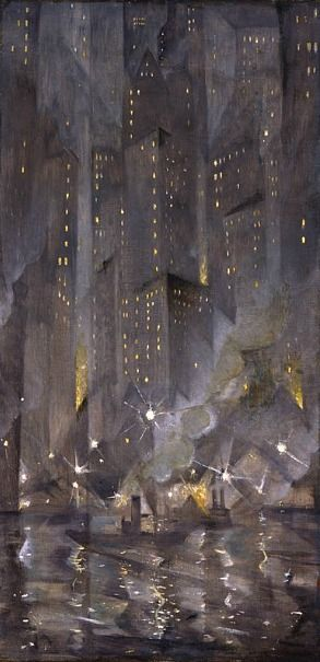 Christopher Nevinson, New York by night (1920) http://whitehotel.tumblr.com/post/10228762642/christopher-nevinson-new-york-by-night-1920