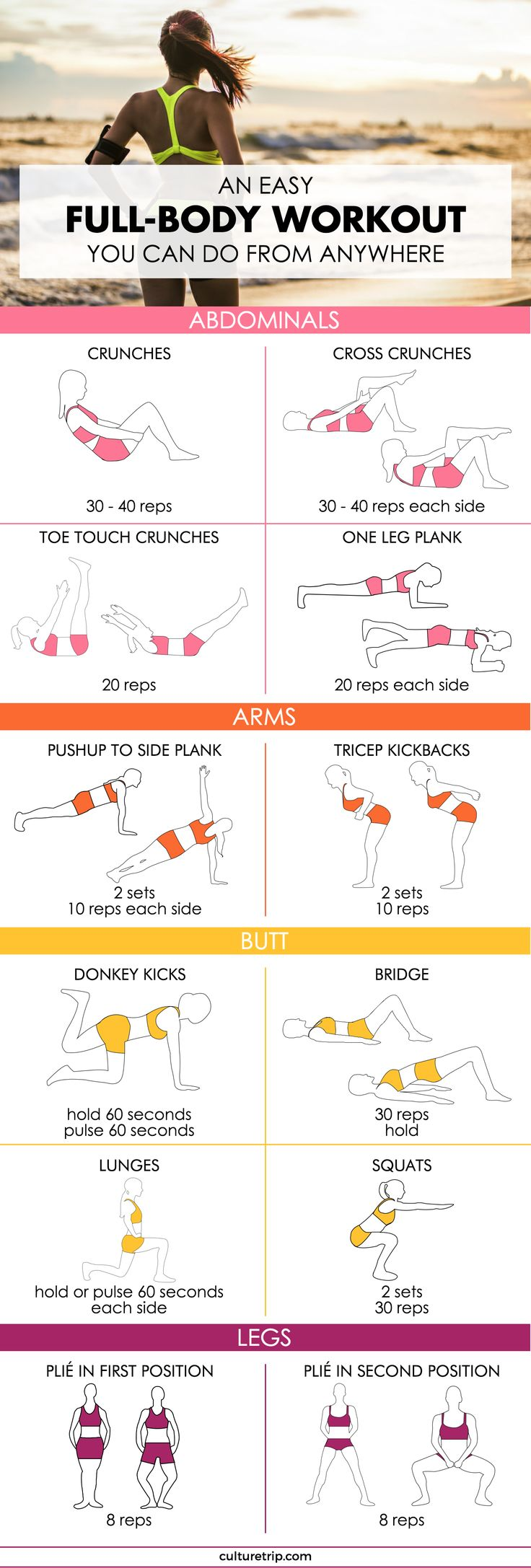 An Easy Full-Body Workout You Can Do From Anywhere|Pinterest: @theculturetrip
