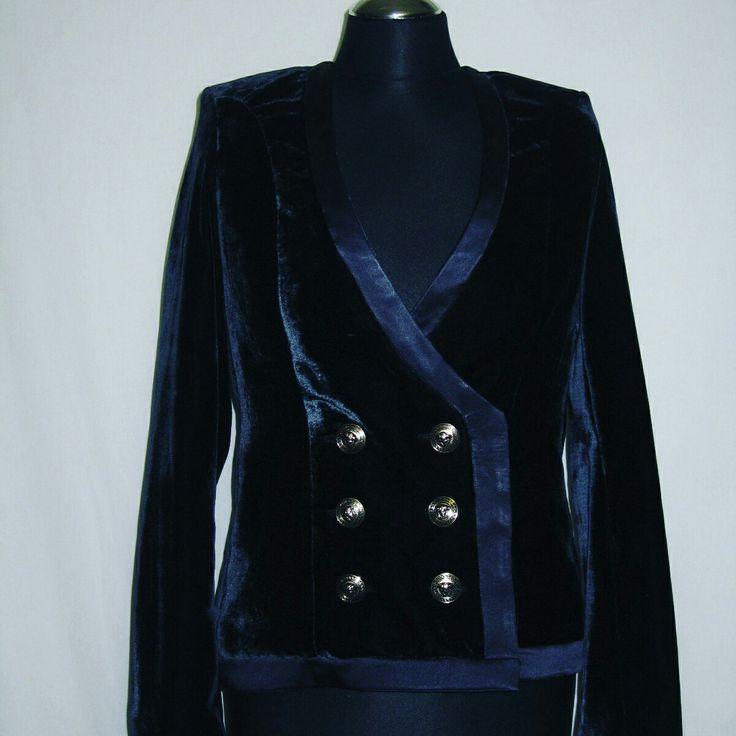 """Жакет темно-синий с окантовкой из шелковой ленты, типа """"Balmain"""""""