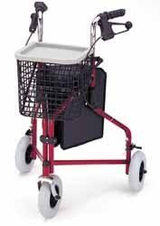 """Nova Traveler 3 Wheeled Rolling Walker Blue, 250lb Capacity by Nova. $107.28. ambulatoryaids. Mobility Aids. The """"TRAVELER"""" by Nova Ortho-Med is a light and maneuverable 3-wheeled walker. The solid 8"""" tires will never puncture and provide a smooth ride on any terrain. Great for the person who does not require the stability of a 4-wheeled walker. Basket, pouch and tray included. Features: 3 wheeled walker. Light and maneuverable. Puncture-proof 8"""" tires. Specifications: ..."""
