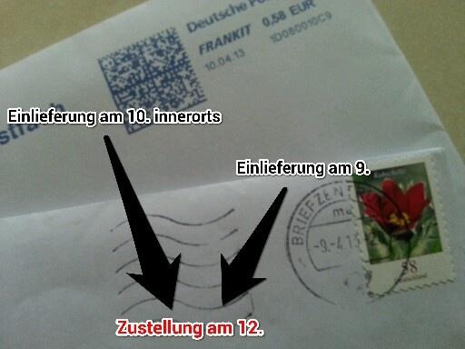 Deutsche Post: Dokumentation realer Briefzustellungsdauer (Teil 1)