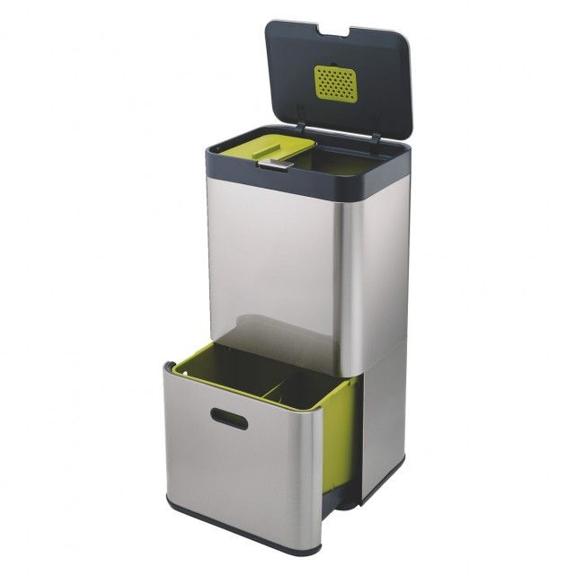 JOSEPH JOSEPH Stainless Steel recyling kitchen bin 60l | Buy now at Habitat UK