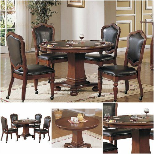 Poker-Table-And-Chairs-Set-Round-4-Player-Wood-Game-Room-Casino-Dining-Texas-New
