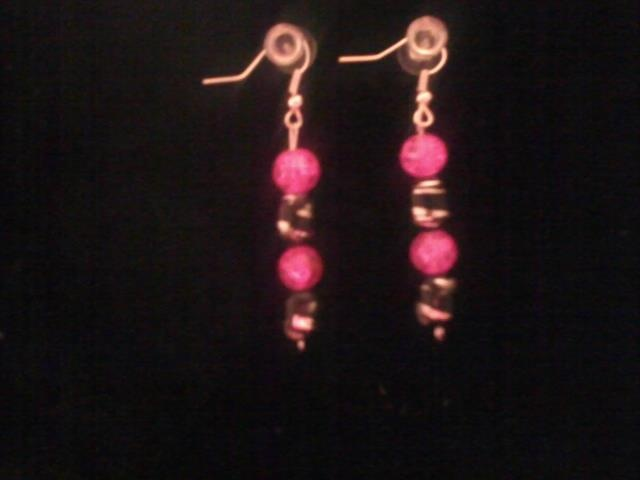HOT PINK and black Earrings I've made!