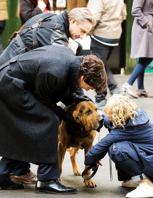 Benedict Cumberbatch, Martin Freeman and Amanda Abbington are seen filming season 4 of Sherlock on April 26, 2016 in London, England