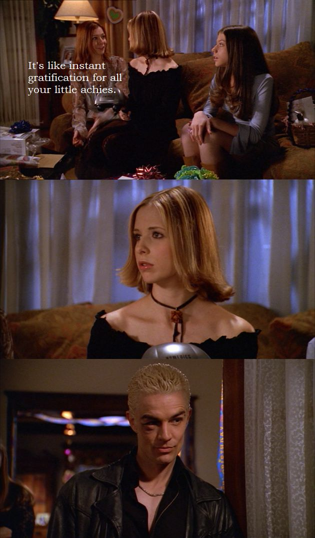 "Spike giving Buffy the ""hey what's up"" to cure her achies"