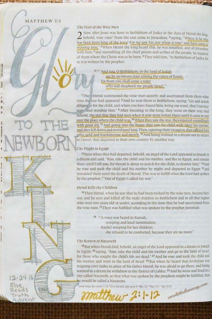 Matthew 2:1-12 December 24, 2015 carol@belleauway.com, gel pens, hand lettering, bible art journaling, bible journaling, illustrated faith, she reads truth advent
