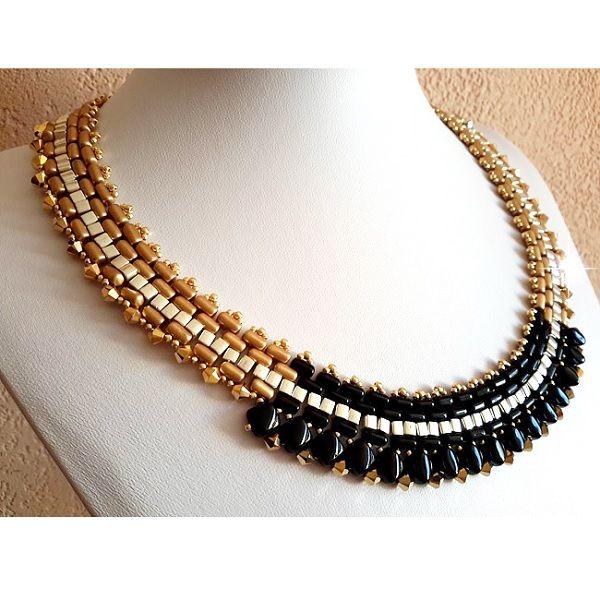 oro y collar de perlas negro con Rullas, Tapas de giro de cuentas Swarovski y sedoso