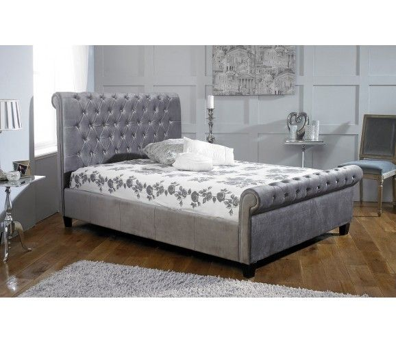 "Olivia - Velvet Bed Frame 6"" Super Kingsize - Silver (Grey)"