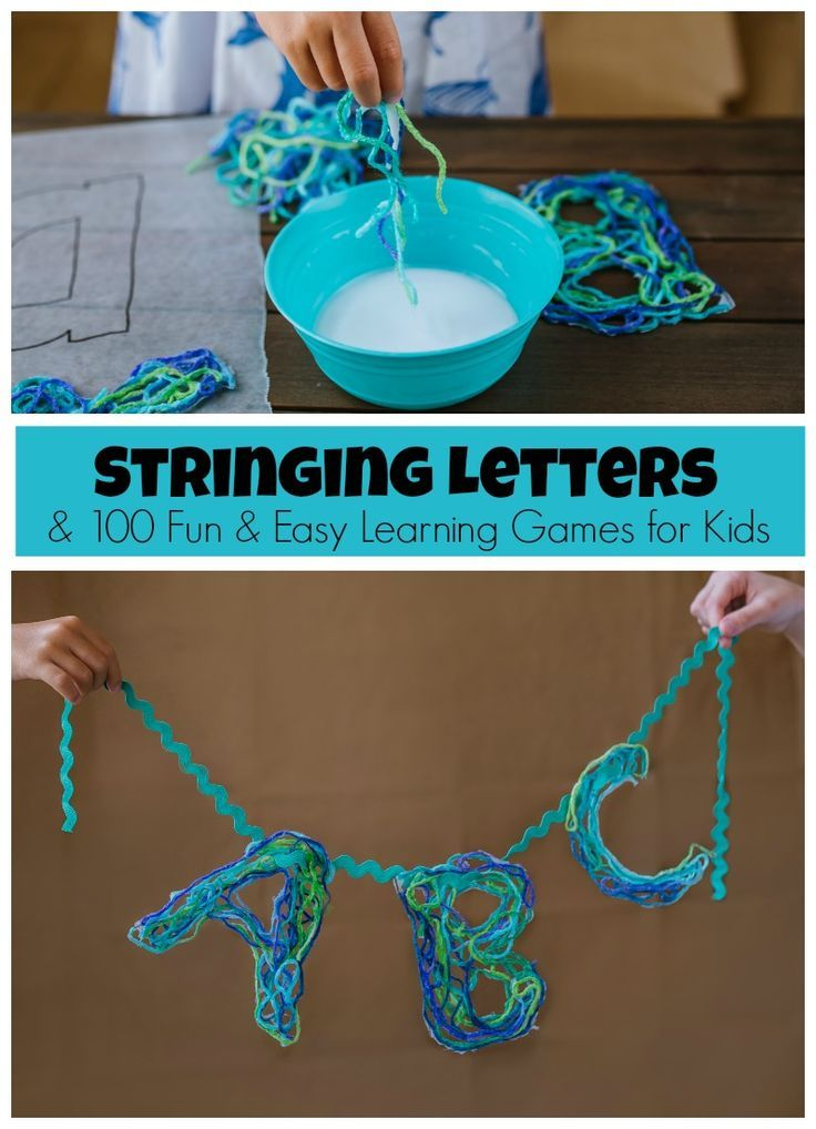 Stringing Letters learning game! Make string letters & turn them into a fun game that teaches alphabet order and even simple spelling! #100LearningGames