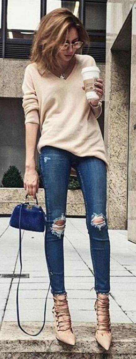 #spring #summer #street #style #outfitideas |Beige Sweater and Heels + Ripped Denim