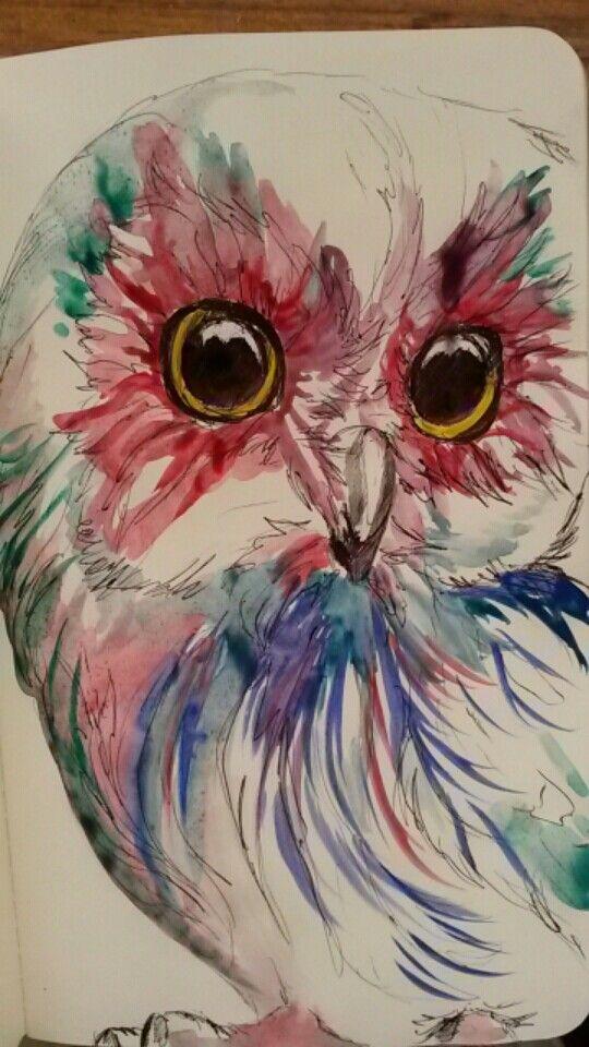 Original work. Ilandi Barkhuizen. Watercolour on moleskin. 2015. Owl.