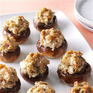 Best-Ever Stuffed Mushrooms Recipe -Every Christmas Eve, I bring out my mushroom marvels. If you don't have mushrooms, spread the sausage and cream cheese filling on baguette slices or crackers. —Debby Beard, Eagle, CO