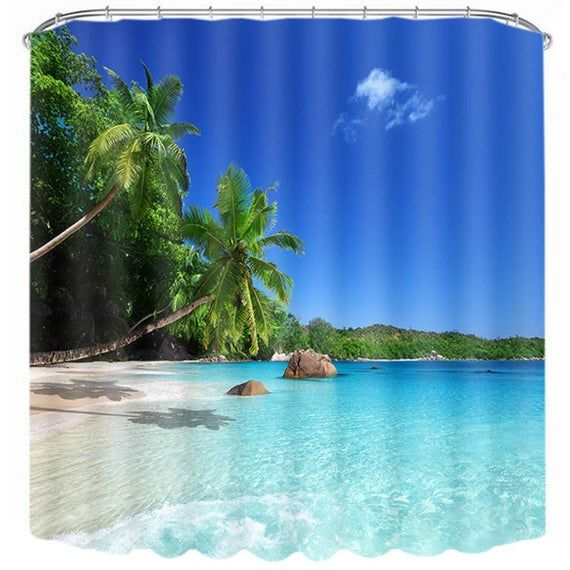 Beach Shower Curtains For Bathroom Fabric Bath Curtains Shower