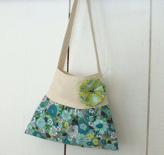 little girls purse toddler handbag tote in rustic floral green blue