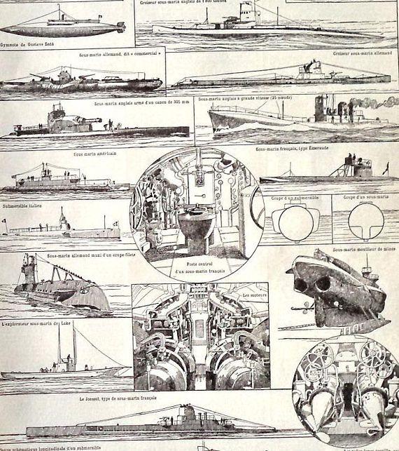 Antique SUBMARINE drawing Engraving Print antique submarines