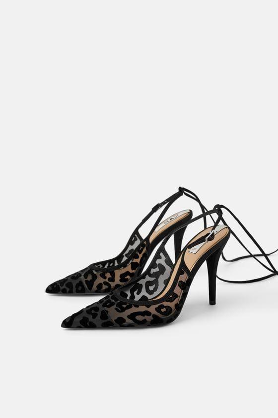 0c5a91fc8449 Black slingback heeled shoes. Velvet animal print mesh upper. Lined high  heels. Pointed