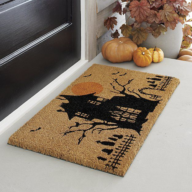 on natural coir fiber our haunted house takes up residence amidst a graveyard barren trees and full moon to greet visitors to your halloween doorstep - Halloween Rugs