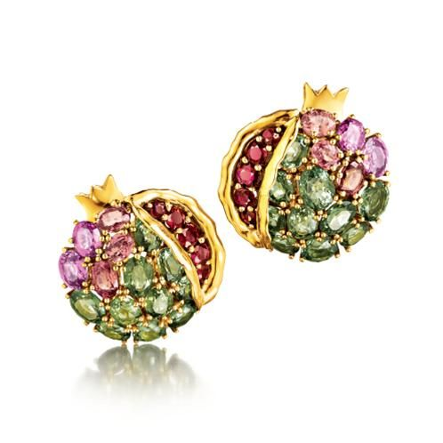 Verdura | Products | EARCLIPS | GEMSTONE | Pomegranate Earclips