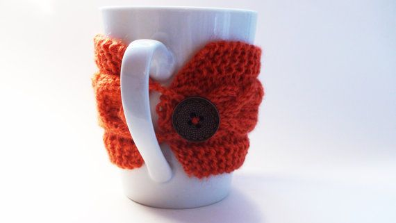 Knitted Orange Mug Cozy Mug Warmer Mug Hug by HelenKurtidu on Etsy