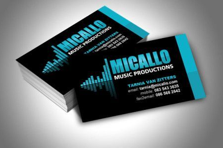 Business card design for Micallo Music Productions, an artist management, events promotion and music productions company based in Cape Town, South Africa. Designed by Bizpearl - http://www.bizpearl.co.za:
