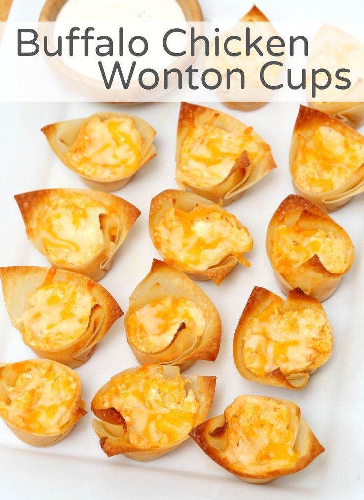 buffalo chicken wonton cups - perfect college football game day food!