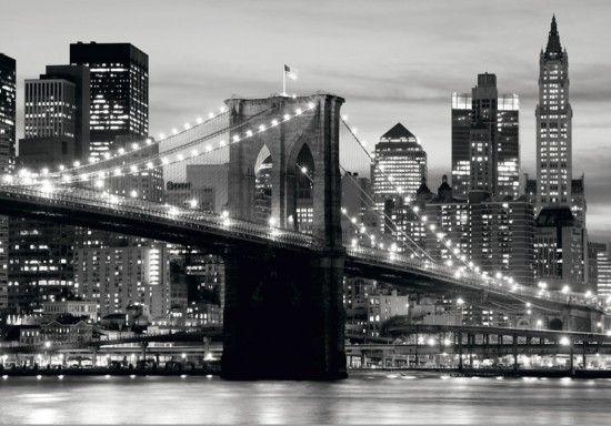 Fototapete Tapete Brooklyn Bridge schwarz weiß New York Foto 360 cm x 254 cm