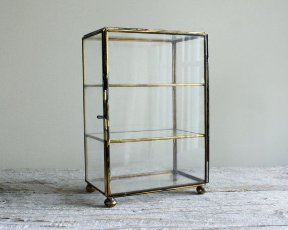 Vintage Brass and Glass Display Case