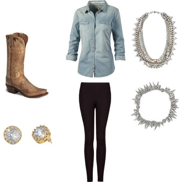 """Sparkly cowgirl"" by pameladenis on Polyvore Stella and Dot Nancy Studs, Sutton necklace, Renegade bracelet"