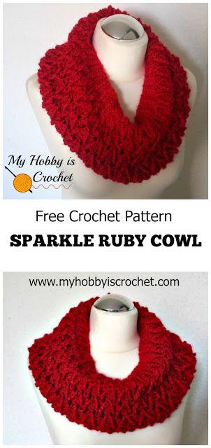 "My Hobby Is Crochet: Sparkle Ruby Cowl - Free Crochet Pattern | Red Heart Joy Creators ""Christmas in July"" Blog Hop"