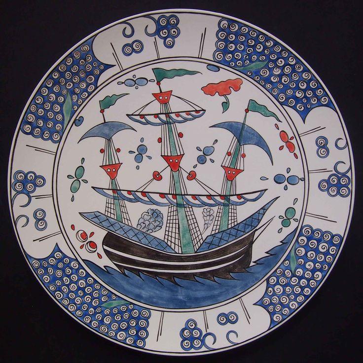 Iznik Ship plate, dia 34 cm