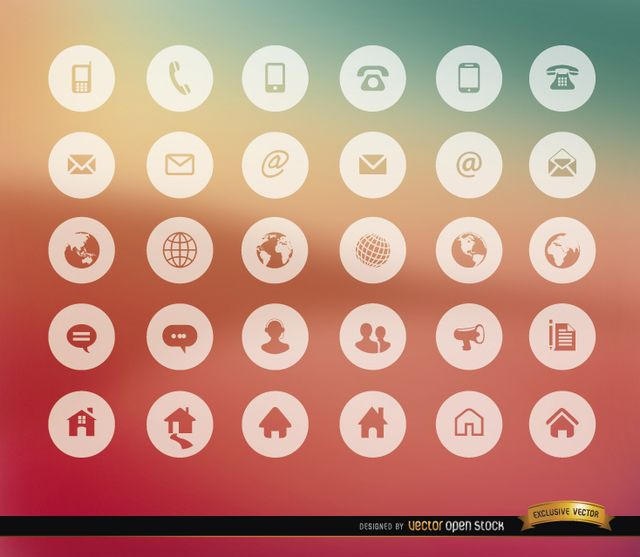 Here is a set with 30 icons for communications and internet stuff in transparent shapes within white circles; here you have all kind of phones, mail symbols, earth globes, chat clouds and home icons. Use it in menus for websites, or in contact section in printed material. High quality JPG included. Under Commons 4.0. Attribution License.